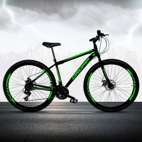 Imagem de Bicicleta Aro 29 Quadro 19 Freio a Disco Mecânico 21 Marchas Aço Preto Verde - Dropp