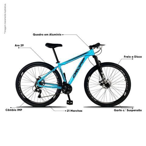 Imagem de Bicicleta Aro 29 Quadro 19 Freio a Disco Mecânico 21 Marchas Alumínio Azul Preto - Dropp