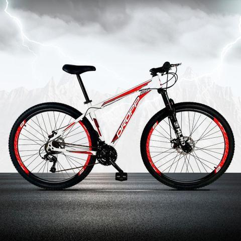 Imagem de Bicicleta Aro 29 Quadro 19 Freio a Disco Mecânico 21 Marchas Alumínio Branco Vermelho - Dropp