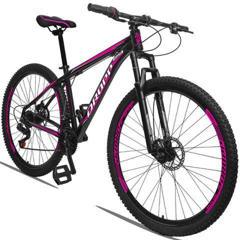 Imagem de Bicicleta Aro 29 Quadro 21 Alumínio 21 Marchas Freio a Disco Mecânico Preto/Pink - Dropp