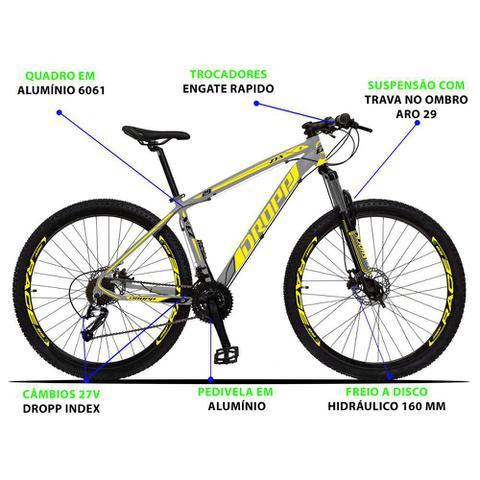 Imagem de Bicicleta Aro 29 Quadro 21 Alumínio 27 Marchas Freio Disco Hidráulico Z3-X Cinza/Amarelo - Dropp