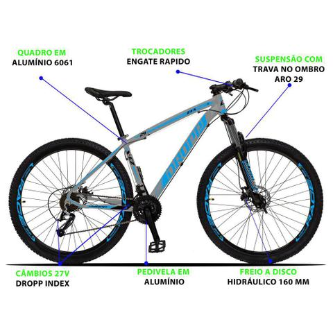 Imagem de Bicicleta Aro 29 Quadro 21 Alumínio 27 Marchas Freio Disco Hidráulico Z3-X Cinza/Azul - Dropp