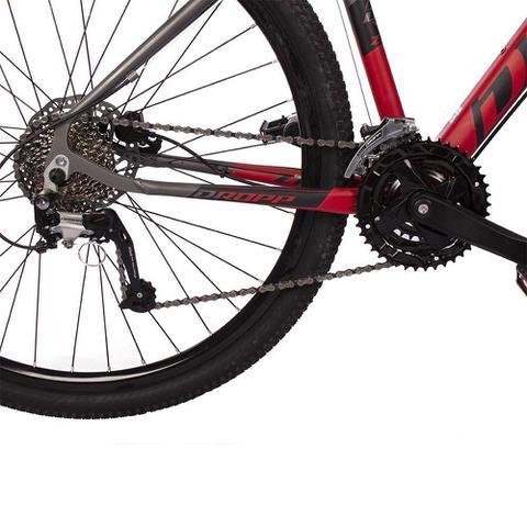 Imagem de Bicicleta Aro 29 Quadro 21 Alumínio 27v Suspensão Trava Freio Hidráulico Z7-X Cinza/Vermelho - Dropp