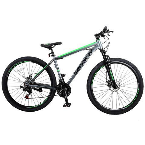 Imagem de Bicicleta Aro 29 Safeway Aço Carbono 21 marchas Shimano Freio a Disco e Suspensão Cinza e Verde