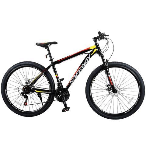 Imagem de Bicicleta Aro 29 Safeway Aço Carbono 21 marchas Shimano Freio a Disco e Suspensão Preto e Vermelho