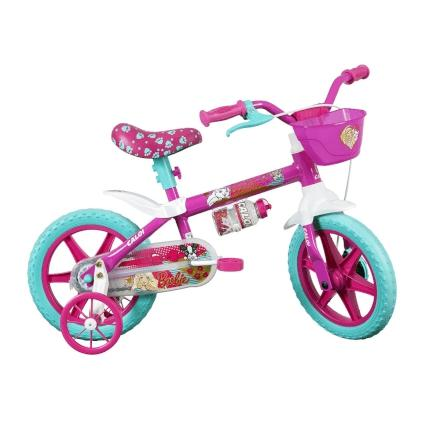 Bicicleta Caloi Barbie Aro 12 Rígida 1 Marcha - Azul/rosa