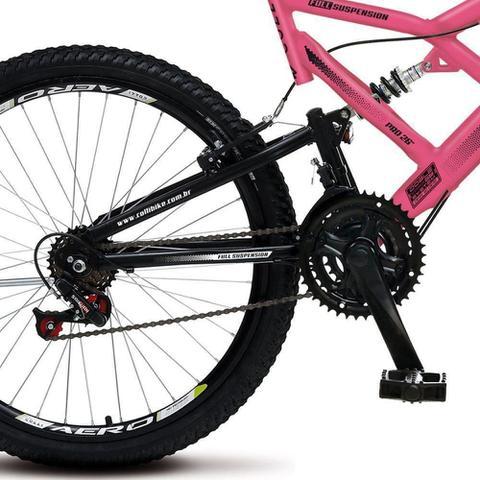 Imagem de Bicicleta Colli Bike GPS 148 Aro 26 Dupla Suspensão 21 Marchas Freio V-Brake- Rosa