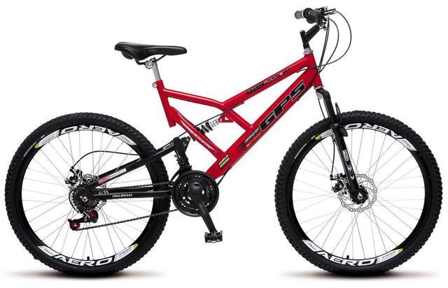 Imagem de Bicicleta Colli Dupla Susp. Vermelha Aro 26 36 Raias 21 Marchas Freios a Disco