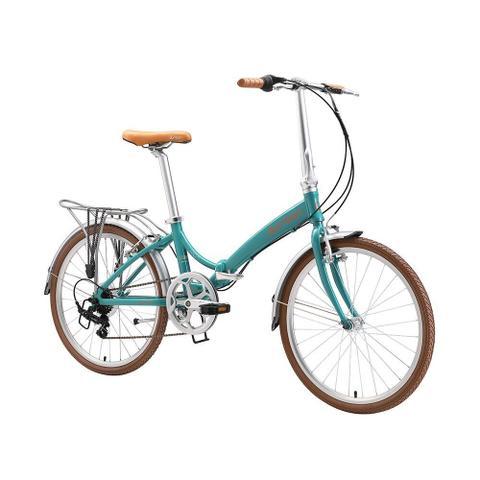 Imagem de Bicicleta dobrável aro 24 com 6 marchas shimano quadro de alumínio turquesa - Rio XL