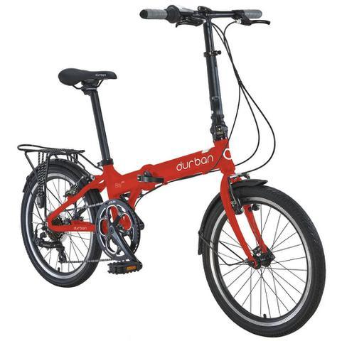 """Imagem de Bicicleta dobrável Durban aro 20"""" de 7 velocidades Shimano e quadro de alumínio Bay Pro Vermelho"""