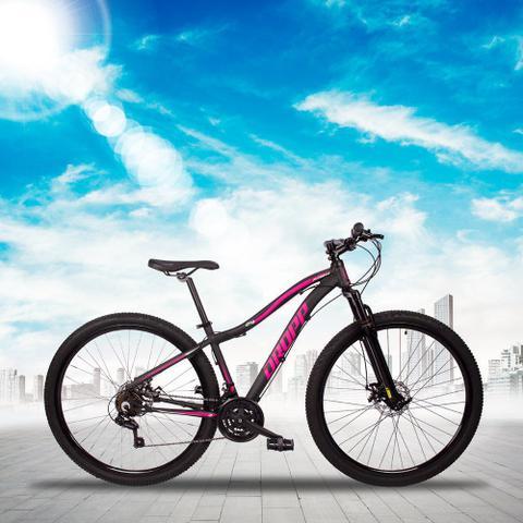 Imagem de Bicicleta Flower Quadro 15 Aro 29 Alumínio 21 Marchas Freio Disco Mecânico Preto Rosa - Dropp