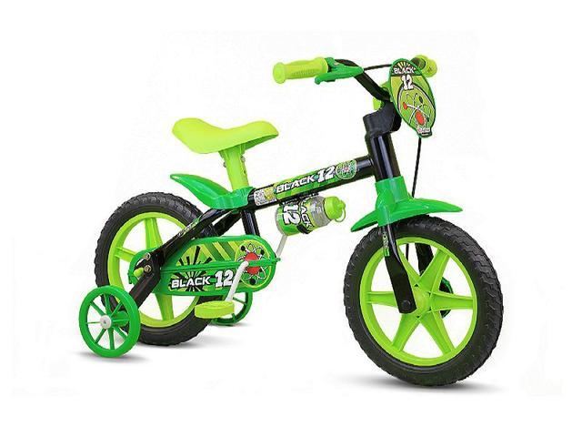 Imagem de Bicicleta Infantil Aro 12 Com Rodinhas Menino Black12 - Nathor