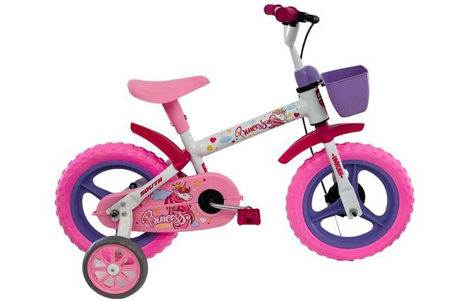 Imagem de Bicicleta Infantil Aro 12 Menina Princesas Branco/rosa