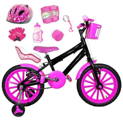 Imagem de Bicicleta Infantil Aro 16 Preta Kit Pink C/ Capacete, Kit Proteção E Cadeirinha