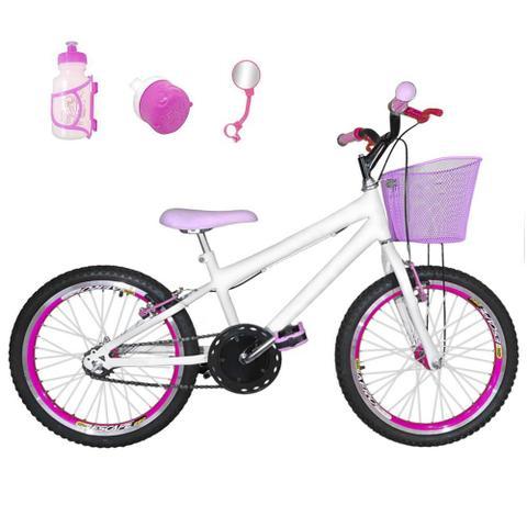 Imagem de Bicicleta Infantil Aro 20 Branca Kit E Roda Aero Pink Com Acessórios