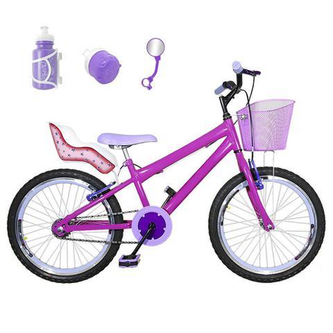 Imagem de Bicicleta Infantil Aro 20 Pink Kit E Roda Aero Roxa Com Cadeirinha