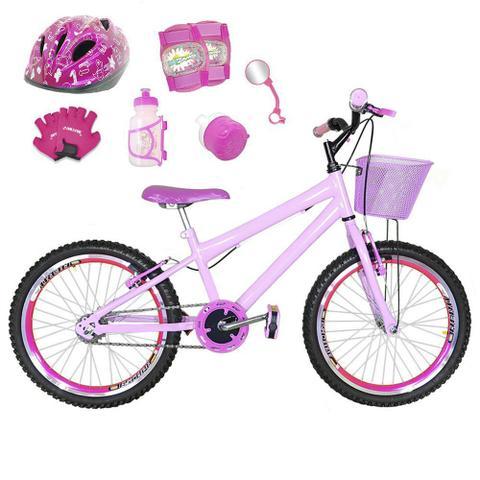 Imagem de Bicicleta Infantil Aro 20 Rosa Bebê Kit E Roda Aero Pink C/ Capacete E Kit Proteção