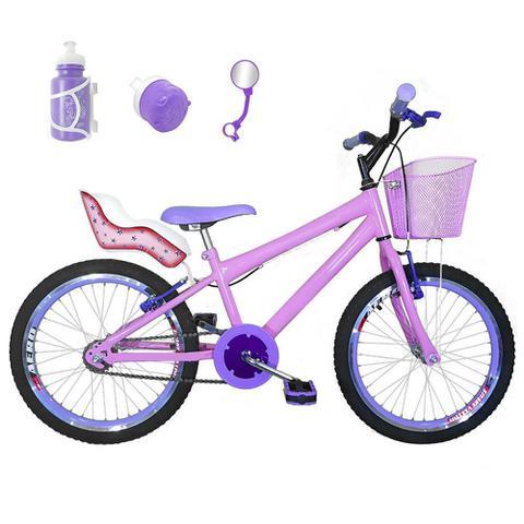 Imagem de Bicicleta Infantil Aro 20 Rosa Bebê Kit E Roda Aero Roxa Com Cadeirinha