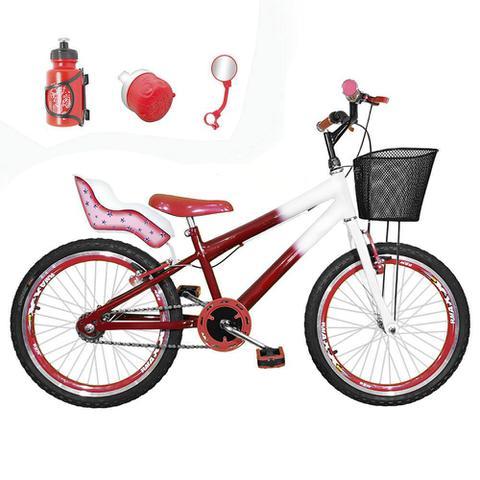 Imagem de Bicicleta Infantil Aro 20 Vermelha Branca Kit E Roda Aero Vermelha Com Cadeirinha