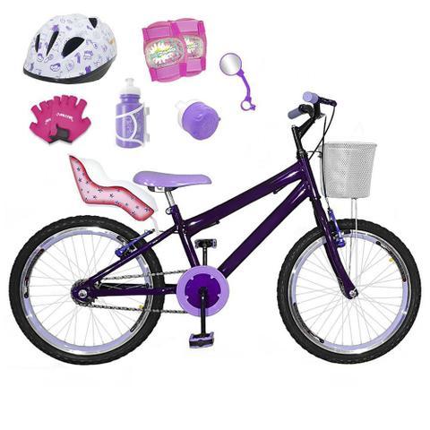 Imagem de Bicicleta Infantil Aro 20 Violeta Kit E Roda Aero Lilás C/ Cadeirinha de Boneca Completa