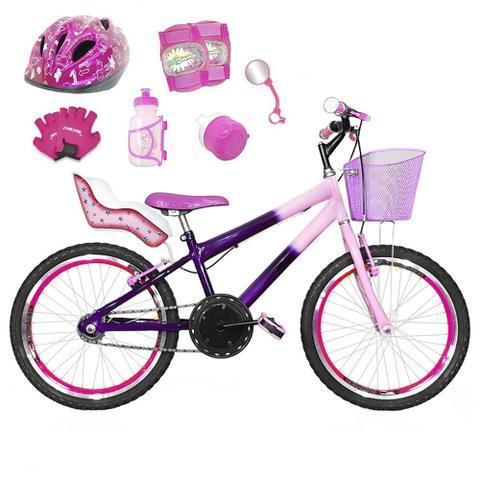 Imagem de Bicicleta Infantil Aro 20 Violeta Rosa Bebê Kit E Roda Aero Pink C/ Cadeirinha de Boneca Completa