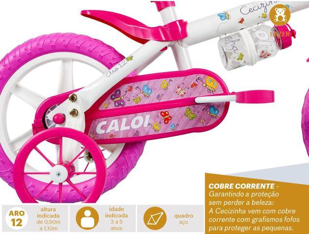 Imagem de Bicicleta Infantil Caloi Cecizinha Aro 12 - Rosa e Branco