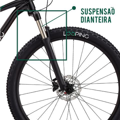 Imagem de Bicicleta LOOPING Aço Carbono Aro 26 Shimano 21 Marchas Mountain Bike Freio a Disco Suspensão Dianteiro com Amortecedor - Preta