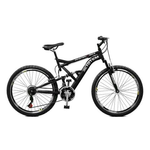 Imagem de Bicicleta Master Bike Aro 26 Totem Suspensão Full Baixa A-36 21 Marchas Preto