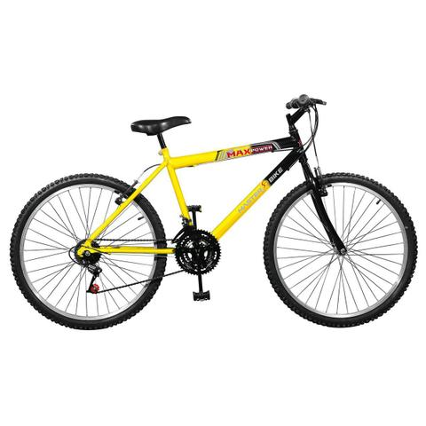 Imagem de Bicicleta Max Power 18 Marchas Aro 26 Amarela E Preta Master Bike