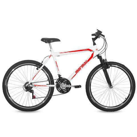 Imagem de Bicicleta Mormaii Aro 26 Jaws Susp 21V C18  Branca/Verm
