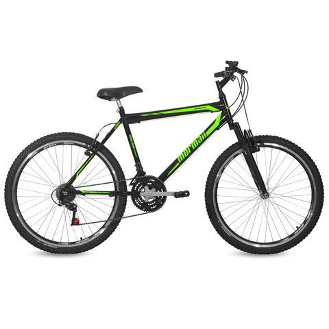 Imagem de Bicicleta Mormaii Aro 26 Jaws Susp 21V C18  Preto Brilhante/Verde