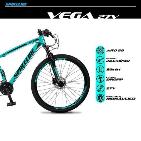 Imagem de Bicicleta MTB Aro 29 Quadro 15 Alumínio 27 Marchas Freio Hidráulico Vega Verde Anis - Spaceline