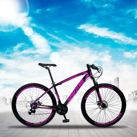 Imagem de Bicicleta MTB Aro 29 Quadro 19 Alumínio 21 Marchas Freio Mecânico Vega Preto/Rosa - Spaceline