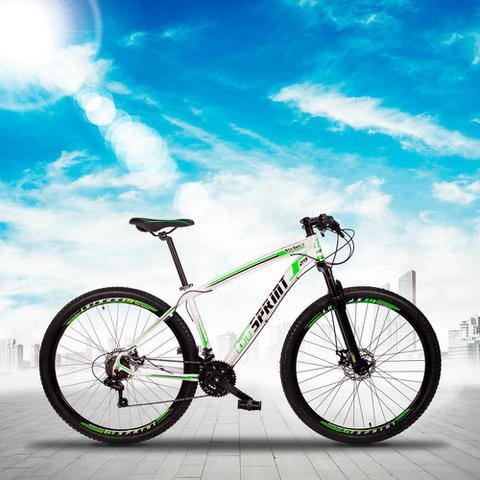 Imagem de Bicicleta MTB Aro 29 Quadro 21 Alumínio 21 Marchas Freio Mecânico Volcon Branco/Verde - GT Sprint