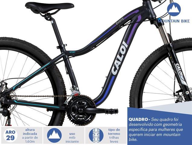 Imagem de Bicicleta MTB Évora Aro 29 - Suspensão Câmbio Shimano Freio a Disco 21 Velocidades - Preto