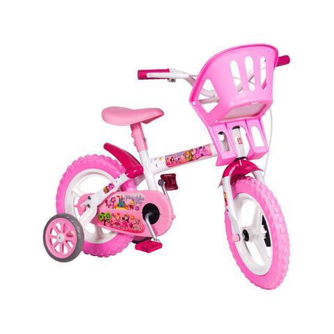 Bicicleta Styll Baby Princesinhas Aro 12 Rígida 1 Marcha - Branco/rosa