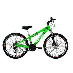Imagem de Bicicleta Viking X TUFF25  Freeride Aro 26 Freio a Disco 21 Velocidades Cambios Shimano Verde Neon Vikingx