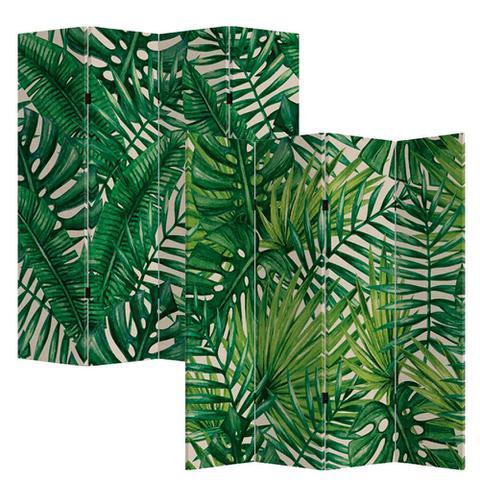 Imagem de Biombo de Madeira com Estampa de Folhas