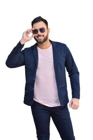 Imagem de Blazer Masculino Slim Com Elastano Luxo Casual Lançamento