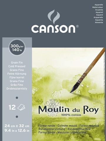 Imagem de Bloco Aquarela Moulin Du Roy 300 g/m² Grain Fin A-4 24X32 cm com 12 Folhas Canson