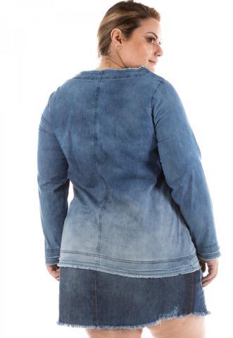 Imagem de Blusa Jeans Feminina Manga Longa Plus Size