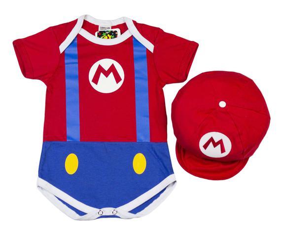 Imagem de Body Fantasia Acessório 100% Algodão Super Mario