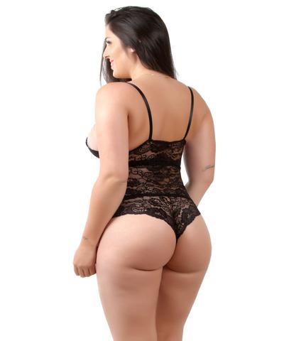 Imagem de Body isa lingerie preto lingerie renda bore feminino