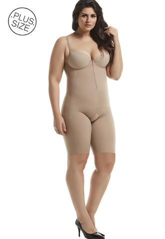 Imagem de Body Modelador Mondress Alta Compressão Bojo E Ziper Macacão Corrige Postura Macaquinho Cintura e Modela Pernas Plus Size