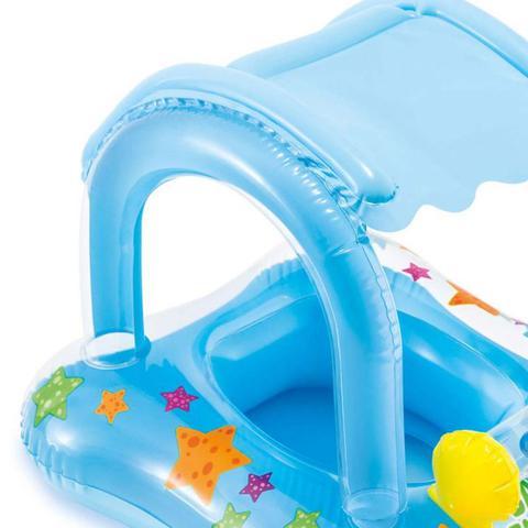 Imagem de Boia Inflável Baby Bote Kiddie Com Cobertura Piscina - Intex