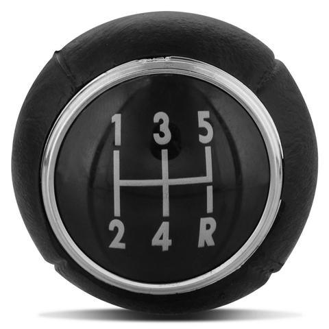 Imagem de Bola de Câmbio Manopla Corsa Celta Montana Meriva Vectra Astra Preta com Aro Cromado Ré para Trás