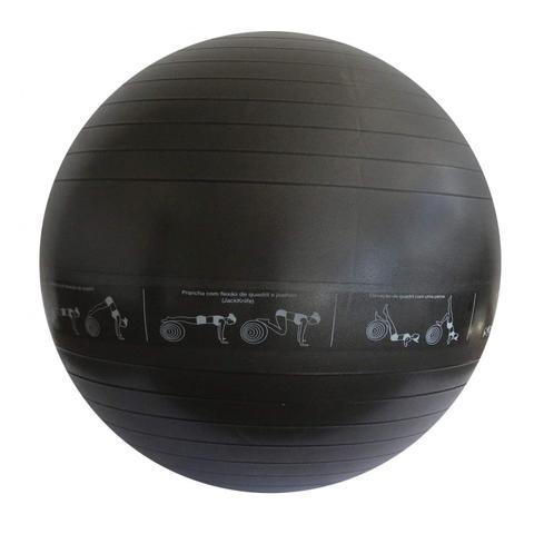Imagem de Bola de Pilates 75cm com Bomba e Faixa de Exercícios PVC Reax Cinza Escuro