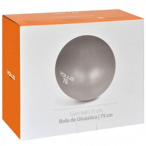 Imagem de Bola de Pilates Ginastica Gym Ball 75 Cm Cinza com Bomba  Vollo Sports