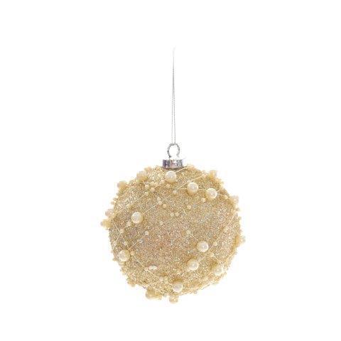 Imagem de Bola Enfeite Árvore Natal Com Bolinhas 8cm 6 Peças Dourado