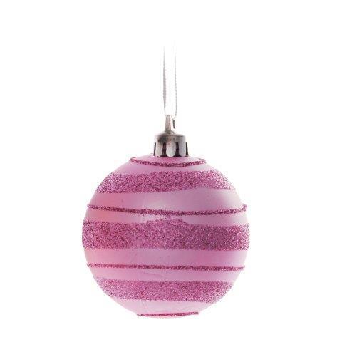 Imagem de Bola Enfeite Árvore Natal Listras Glitter 6cm 6 Peças Rosa
